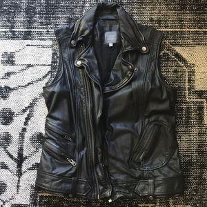 GRAY by SAKS 5th black leather moto vest